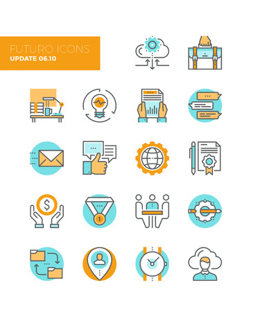 business desk: Line icons with flat design elements of corporate business work flow, cloud solution for small team, startup development and management. Modern infographic vector icon pictogram collection concept.