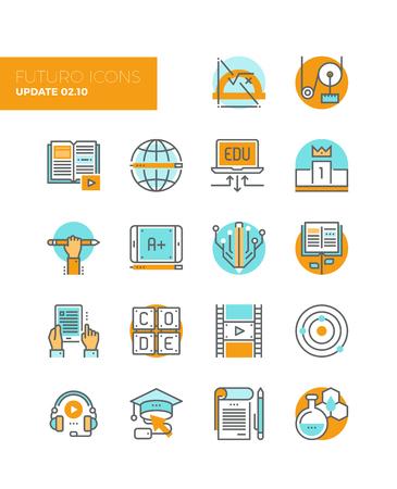 образование: Линейные значки с плоскими элементами дизайна техники онлайн образования, людей, изучающих прикладную науку, базовой роста знаний, научиться кода. Современный инфографики вектор коллекция иконок пиктограмма понятие. Иллюстрация