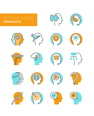 Line icons with flat design elements of human solution provider, teamwork strategy brainstorming, human profile management, head thinking. Modern infographic vector icon pictogram collection concept. Vettoriali