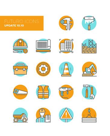 건물 건설 현장 공정의 평면 디자인 요소, 엔지니어링 도면 생산, 장비와 작업자 도구 상자와 선 아이콘. 현대 인포 그래픽 벡터 아이콘 그림 컬렉션 개