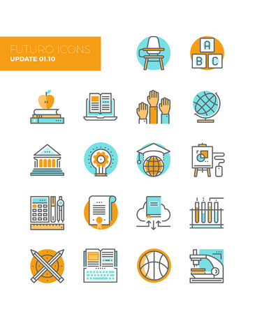 global innovation: Line icons with flat design elements of education technology for teaching online, studying books with cloud library, innovation research. Modern infographic vector icon pictogram collection concept.