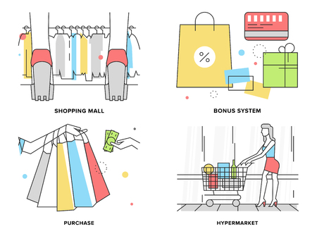 Línea plana conjunto de ilustración de mujer de compras en el centro comercial hiper, descuento supermercado y sistema de primas, el pago de los productos, variedad de ropa.