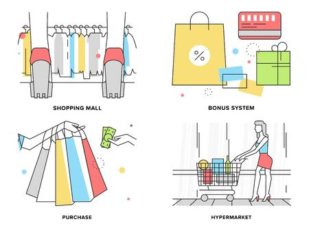 mujer en el supermercado: Línea plana conjunto de ilustración de mujer de compras en el centro comercial hiper, descuento supermercado y sistema de primas, el pago de los productos, variedad de ropa.