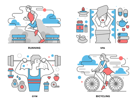 woman run: Flat line illustration set of healthy living activity, boy doing exercises in gym Illustration