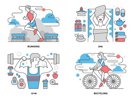 bicicleta: Ilustración línea plana conjunto de la actividad de la vida sana, ejercicios boy haciendo en el gimnasio