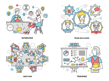 women working: Flat line illustration set of human resources training progress, mentor coaching people for rise potential, business team building process.