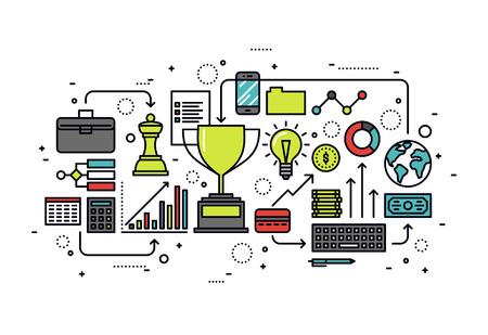 crecimiento: Diseño plano delgada línea de la oportunidad de negocio de crecimiento