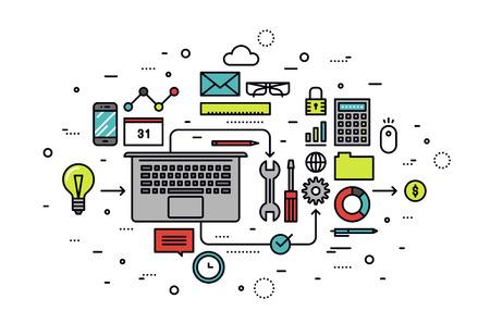 Web スタートアップの成功のソリューションに取り組んでの細い線フラットなデザイン  イラスト・ベクター素材