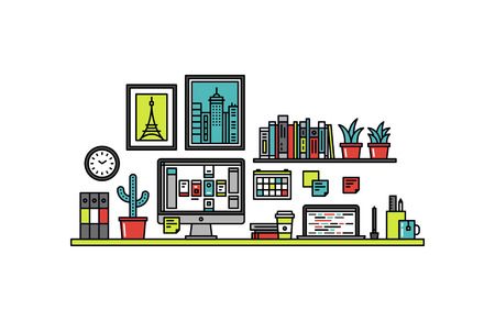 Thin line flat design of user interface designer desk Illustration