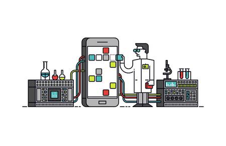 Diseño plano delgada línea del científico del laboratorio que sostiene solución de tienda de aplicaciones móviles