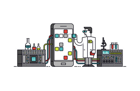 mobile phone icon: Thin line flat design of lab scientist holding mobile app store solution