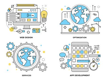 engranes: Ilustración línea plana conjunto de servicios a las empresas de Internet, el proceso de construcción de sitios web
