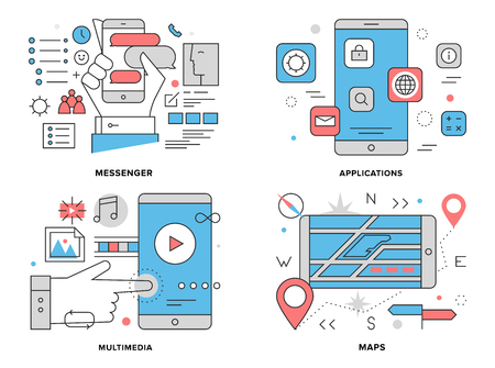 sms icon: Flat line illustration set of various smartphone apps, mobile gps mapping navigation