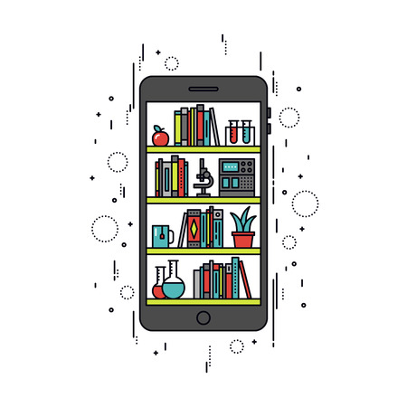 digital media: Thin line flat design of online library on smartphone