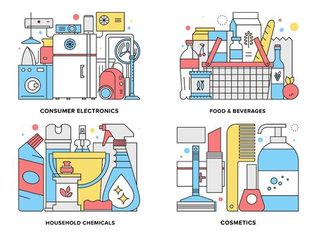 productos quimicos: Ilustración línea plana conjunto de productos de consumo de supermercados tales como electrodomésticos