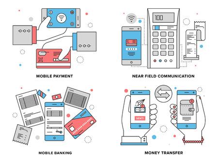 pieniądze: Płaska linia zestaw ilustracji procesu płatności mobilnych