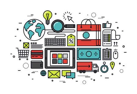 고객의 전자 상거래 구매 프로세스의 얇은 라인 평면 디자인, 인터넷 쇼핑 저장소 서비스 일러스트