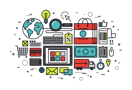 Thin line flat design of customer e-commerce buying process, internet shopping store service