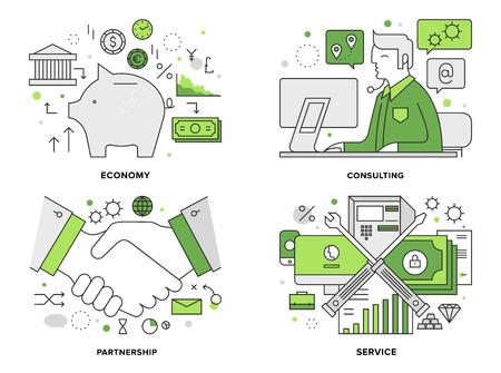 contabilidad financiera cuentas: Ilustración línea plana conjunto de servicios de banca corporativa