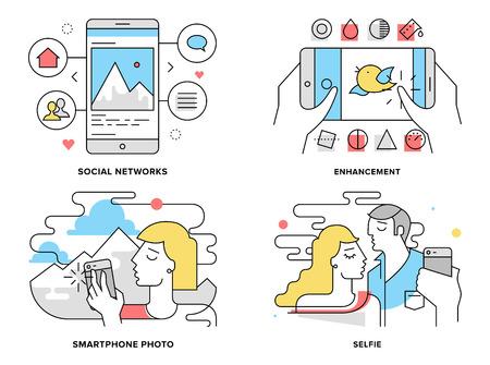 romantyczny: Płaska linia zestaw ilustracji romantyczna para biorąc selfie na smartfonie Ilustracja