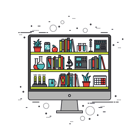 Thin line flat design of online education on student computer