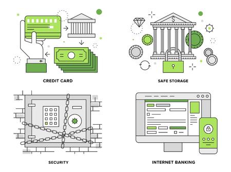 contabilidad financiera cuentas: Ilustraci�n l�nea plana conjunto de Internet seguridad bancaria Vectores