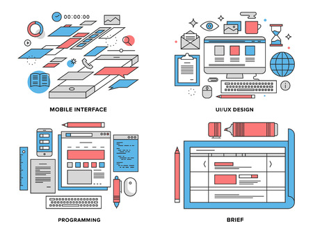 prototype: Flat line illustration set of mobile user interface development, UI and UX optimization, web coding, brief planning for website prototype. Modern design vector concept, isolated on white background.