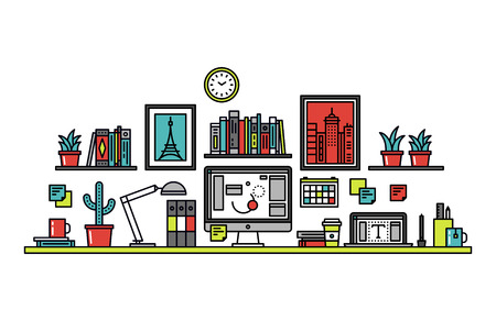 artists: Thin line flat design of graphic designer workplace desk