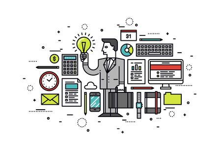 성공 비즈니스 혁신 아이디어의 얇은 라인 플랫 디자인 일러스트