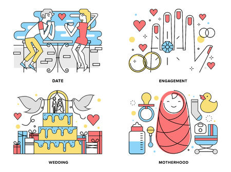 romantic couples: Flat line illustration set of start a happy family