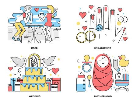 parejas romanticas: Ilustración línea plana conjunto de formar una familia feliz Vectores