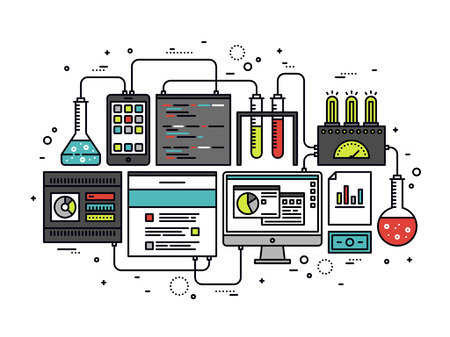 in lab: Dise�o plano delgada l�nea de investigaci�n de contenido del sitio web de Internet, web CMS an�lisis de medida, la tecnolog�a de pruebas de productos, an�lisis de datos grandes. Moderno concepto de ilustraci�n vectorial, aislados en fondo blanco.