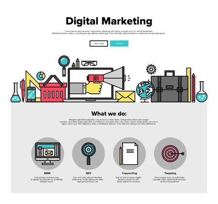 디지털 마케팅 광고의 얇은 선 아이콘, 소셜 미디어 캠페인 추진, SMM 데이터 연구와 함께 한 페이지 웹 디자인 템플릿입니다. 플랫 디자인 그래픽 영웅  일러스트