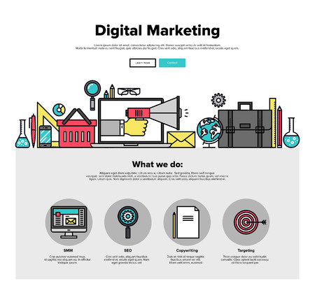 digital data: One page web design template with thin line icons of digital marketing advertising, social media campaign promotion, smm data research. Flat design graphic hero image concept, website elements layout.