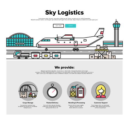 web: One page web design template with thin line icons of heavy airplane freight on airport loading platform, commercial shipment by airline. Flat design graphic hero image concept, website elements layout.