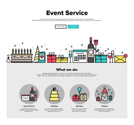 Una página de la plantilla de diseño web con iconos de líneas finas de evento especial y feliz organización fiesta de cumpleaños, la agencia de servicio de catering. Diseño plano héroe gráfico concepto de imagen, diseño de elementos del sitio web. Ilustración de vector