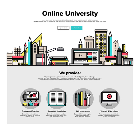 studies: One page web design template with thin line icons of internet campus workshop learning, online university space for coworking education. Flat design graphic hero image concept, website elements layout.