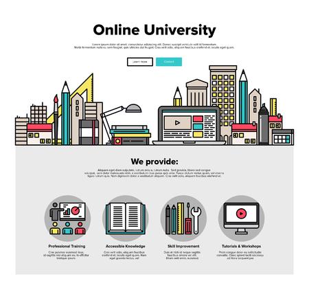 Una página de la plantilla de diseño web con iconos de líneas finas de aprendizaje taller campus internet, espacio universitario en línea para la educación de coworking. Diseño plano héroe gráfico concepto de imagen, diseño de elementos del sitio web.