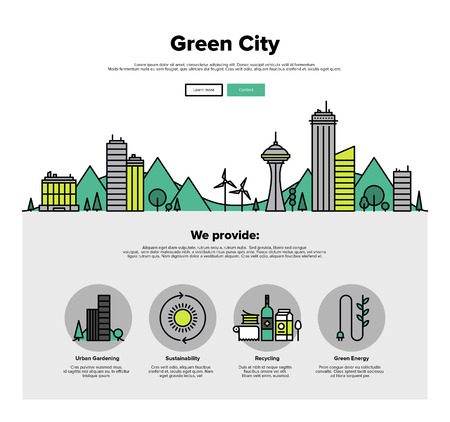 city building: One page web design template with thin line icons of green city eco technology, sustainability of local environment, town ecology saving. Flat design graphic hero image concept, website elements layout.