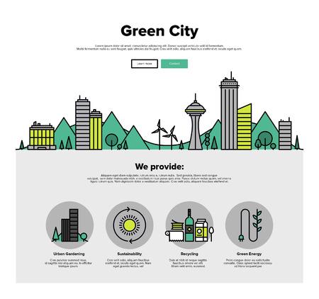 Una página de la plantilla de diseño web con iconos de líneas delgadas de la tecnología eco ciudad verde, sostenibilidad del medio ambiente local, el ahorro de la ciudad ecología. Diseño plano héroe gráfico concepto de imagen, diseño de elementos del sitio web. Vectores