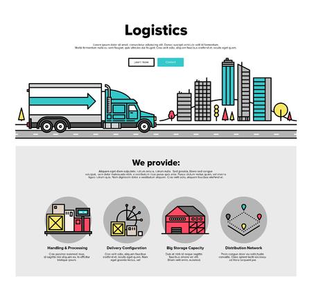 taşıma: Ağır kamyon araca, yol teslimat dağıtım hizmeti ile kargo konteyner lojistik ince çizgi simgeleri ile Bir sayfa web tasarım şablonu. Düz tasarım grafik kahraman görüntü kavramı, web elemanları düzeni.
