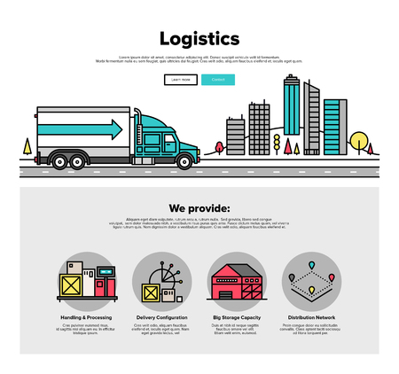 Delivery: One page web design template with thin line icons of cargo container logistic by heavy truck vehicle, road delivery distribution service. Flat design graphic hero image concept, website elements layout.