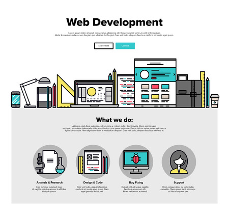webpages: One page web design template with thin line icons of web studio services. Website optimization, SEO analysis, bug testing and fixing. Flat design graphic hero image concept, website elements layout.