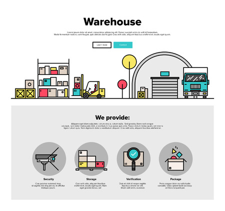 warehouse: One page web design template with thin line icons of wholesale warehouse storage, forklift lorry loading goods in box for truck delivery. Flat design graphic hero image concept, website elements layout.
