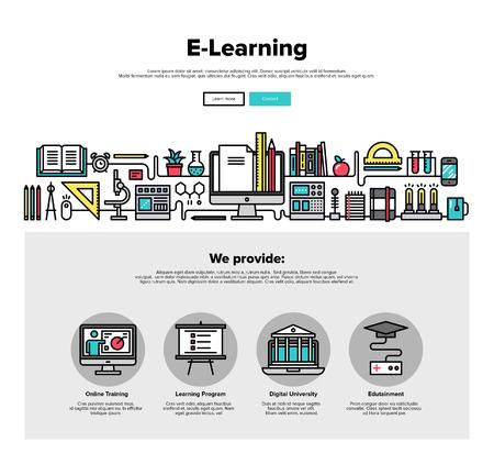 eğitim: E-öğrenme eğitim sürecinin ince çizgi simgeleri ile Bir sayfa web tasarım şablonu, bilim çalışması, web kursu için mesafe sınıfı uyguladık. Düz tasarım grafik kahraman görüntü kavramı, web elemanları düzeni.