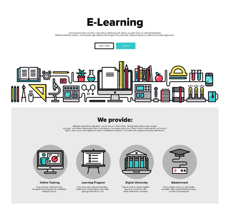supplies: One page web design template with thin line icons of e-learning education process, applied science study, distance class for web course. Flat design graphic hero image concept, website elements layout.