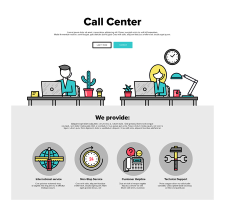 support center: One page web design template with thin line icons of call center support, customer service helpline operator, business solution provider. Flat design graphic hero image concept, website elements layout.