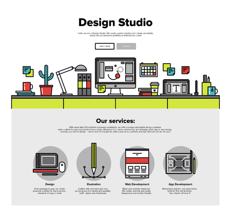web design template: One page web design template with thin line icons of design studio agency services. Digital graphics, web develop and apps prototyping. Flat design graphic hero image concept, website elements layout. Illustration