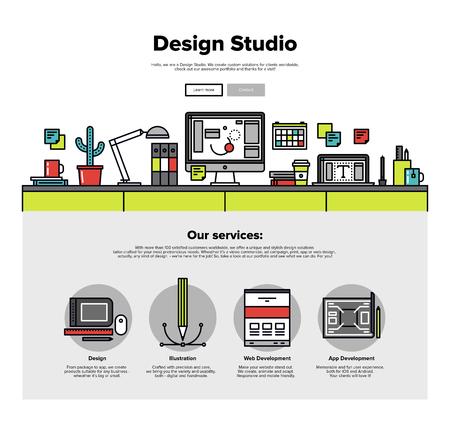 graficas: Una página de la plantilla de diseño web con iconos de líneas finas de servicios de agencia de estudio de diseño. Gráficos digitales, el desarrollo web y aplicaciones de prototipos. Diseño plano héroe gráfico concepto de imagen, diseño de elementos del sitio web.