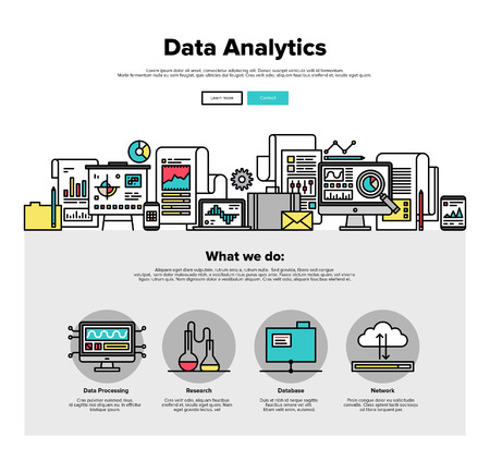 information analysis: One page web design template with thin line icons of business data analytics, finance statistics, web search analysis, database research. Flat design graphic hero image concept, website elements layout.